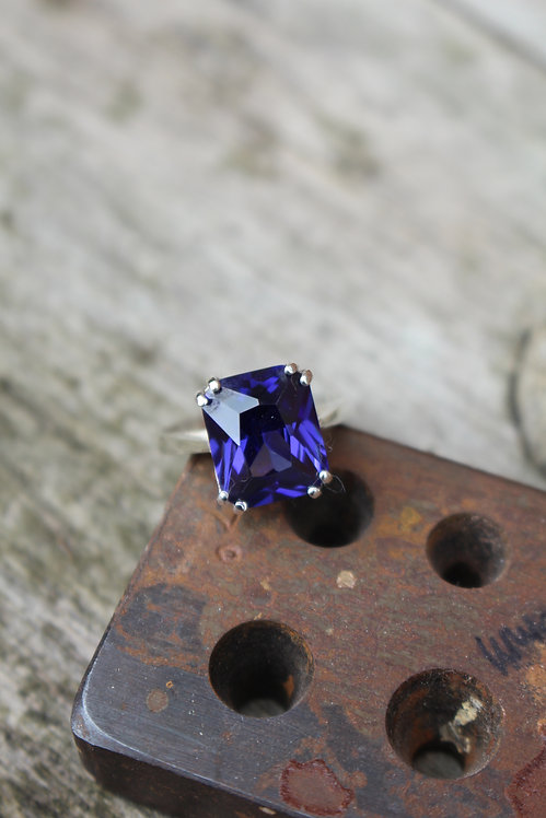 Silver Blue Zircon Vintage Ring
