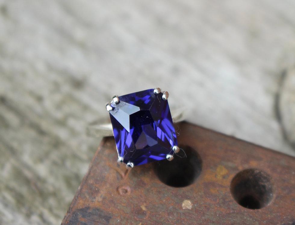 Silver Blue Zircon Vintage Ring