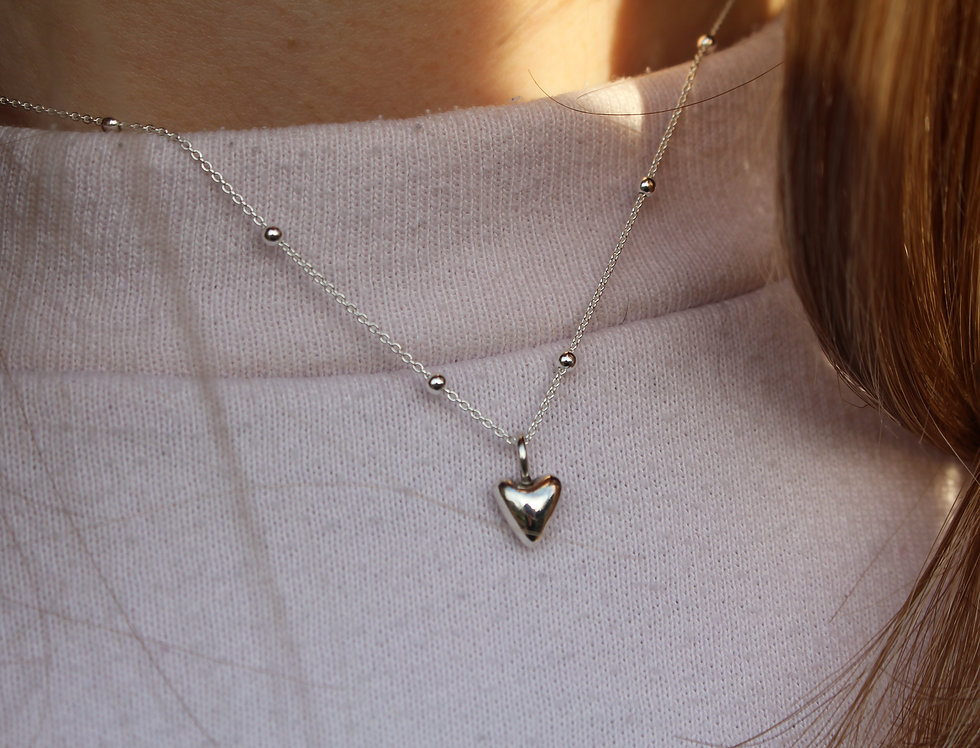Tiny Siver Heart Necklace