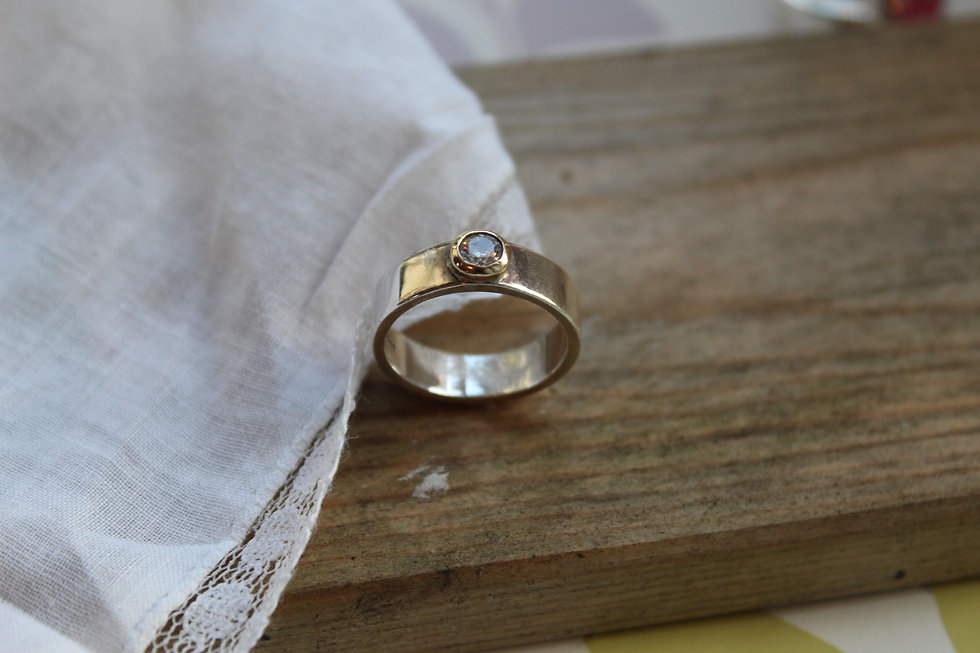 Silver & 9ct Gold Stackable Rub Over Ring