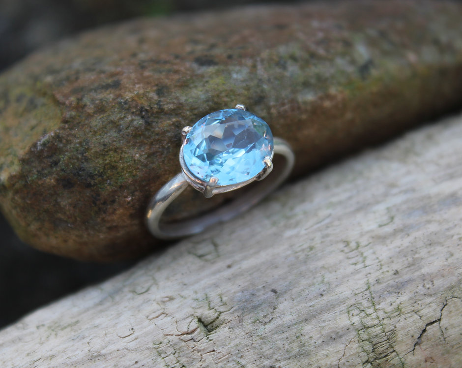 Silver Blue Topaz Oval Ring