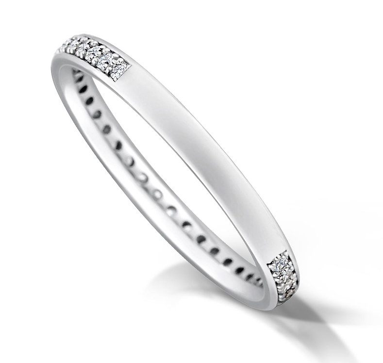Thin 3/4 Pave Set Diamond Ring