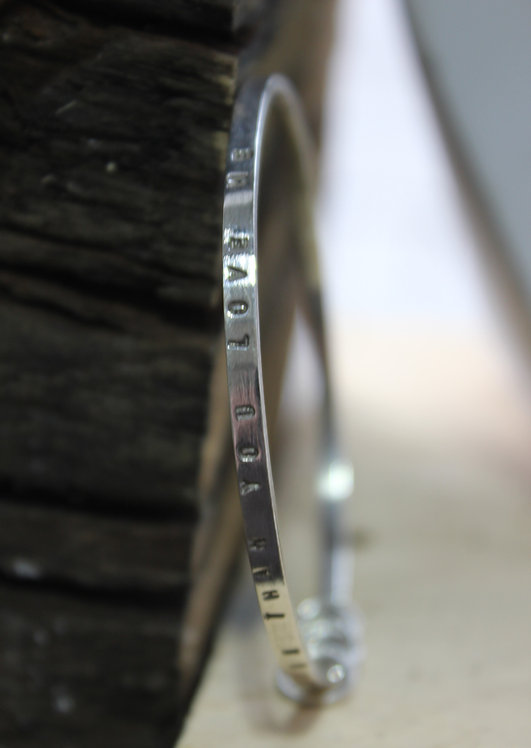Silver Quote Full Bangle Thin
