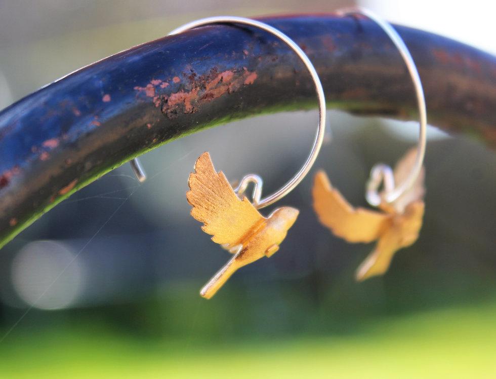 Silver & Gold Flying Bird Earrings