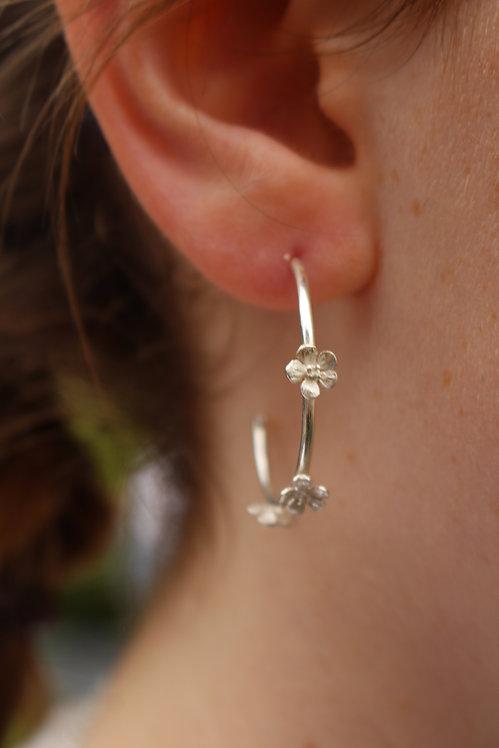 Silver Blossom Hoop Earrings