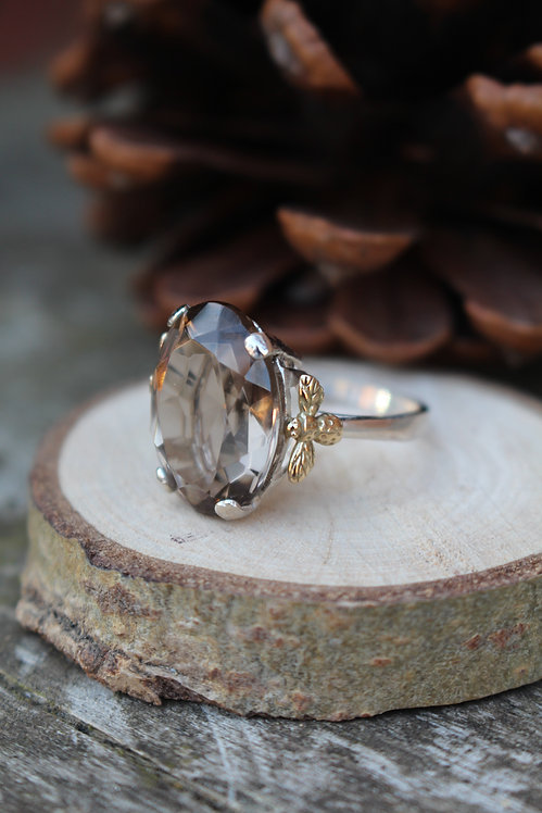 Silver & Gold Smokey Quartz Bee Ring