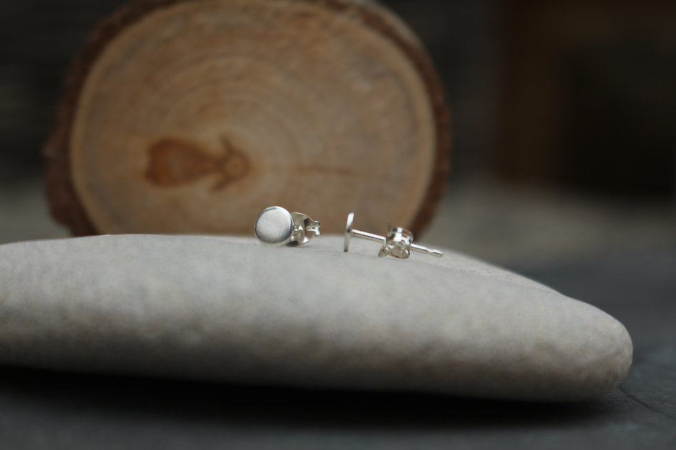 Small Flat Disc Stud Earrings