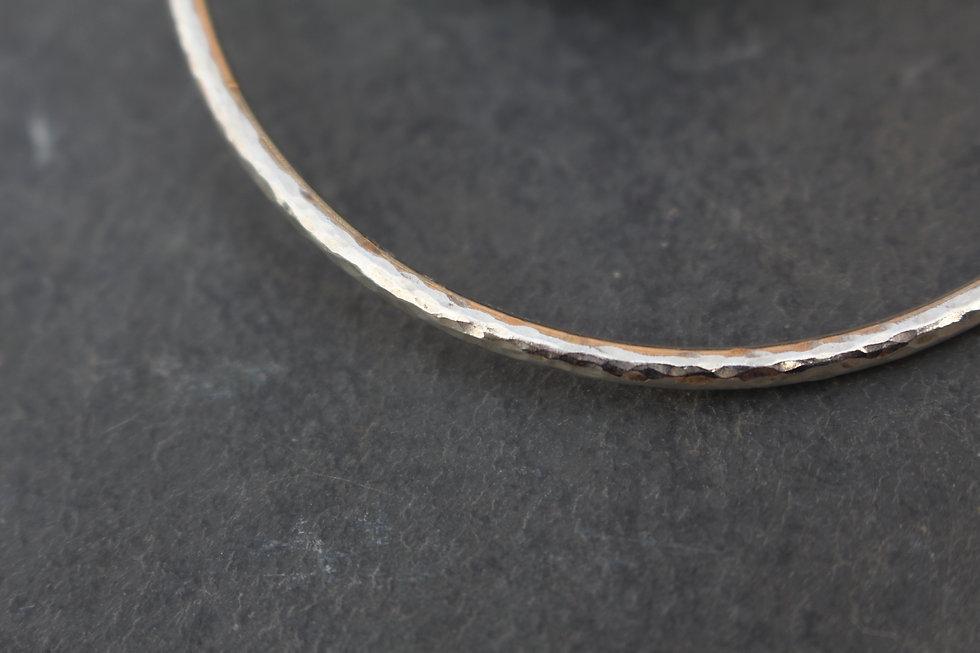 Silver Hammered Bangle Charm Bracelet