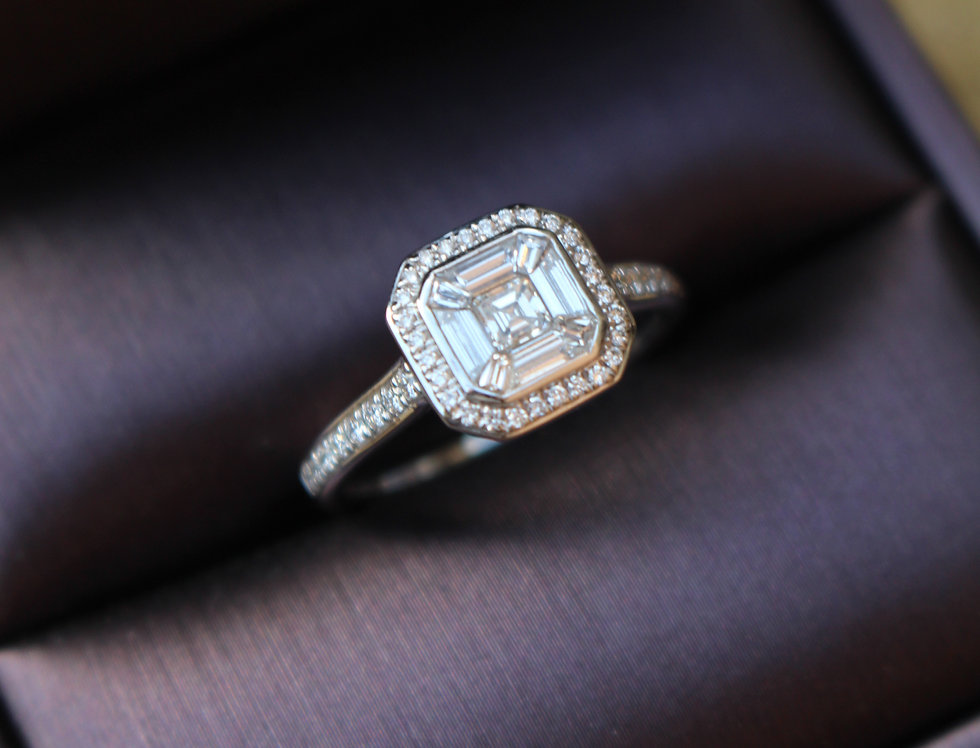 Diamond Set Assher Ring