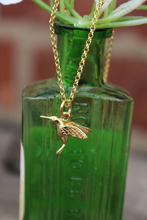 Gold Humming Bird Necklace