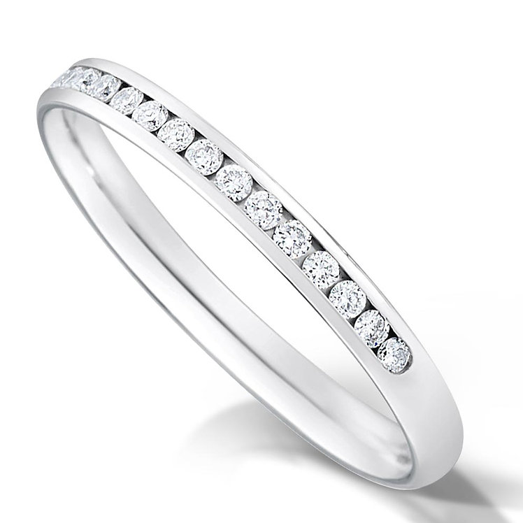 Thin Half Channel Set Diamond Ring