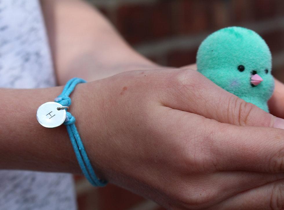 Childrens Handstamped Letter Charm Bracelet