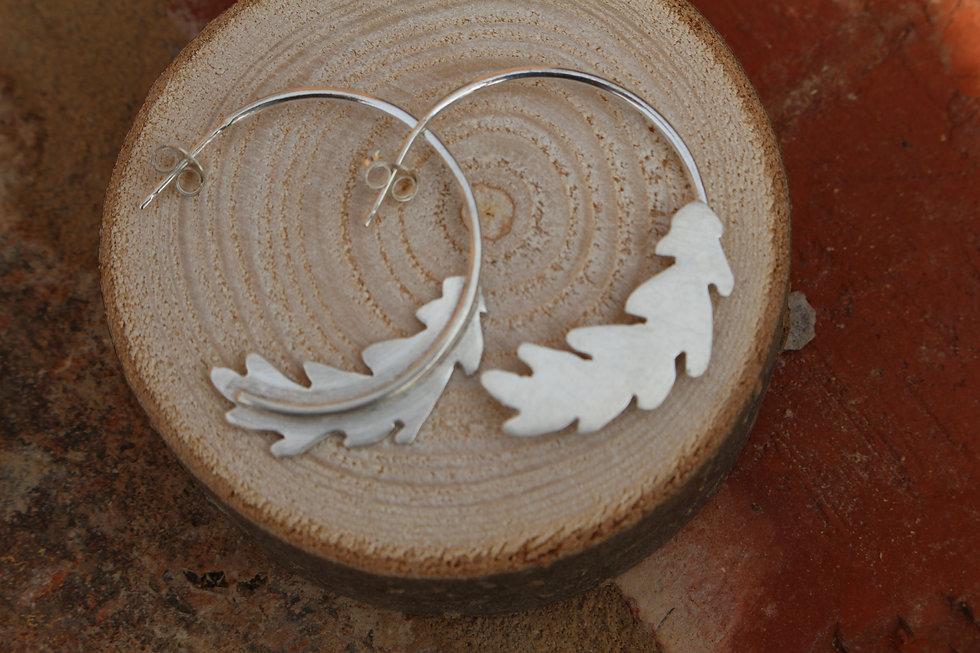 Silver Oak Hoop Earrings