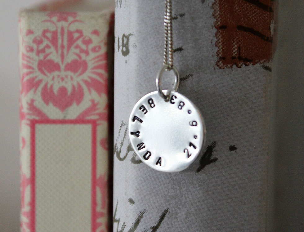 Personalised Silver Disc Name Necklace