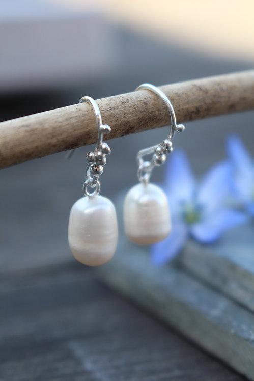 Silver Rocky Road Pearl Drop Earrings