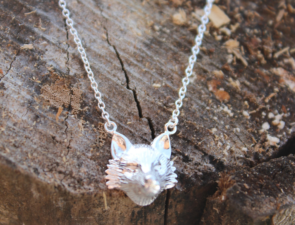Silver Fox Face Pendant