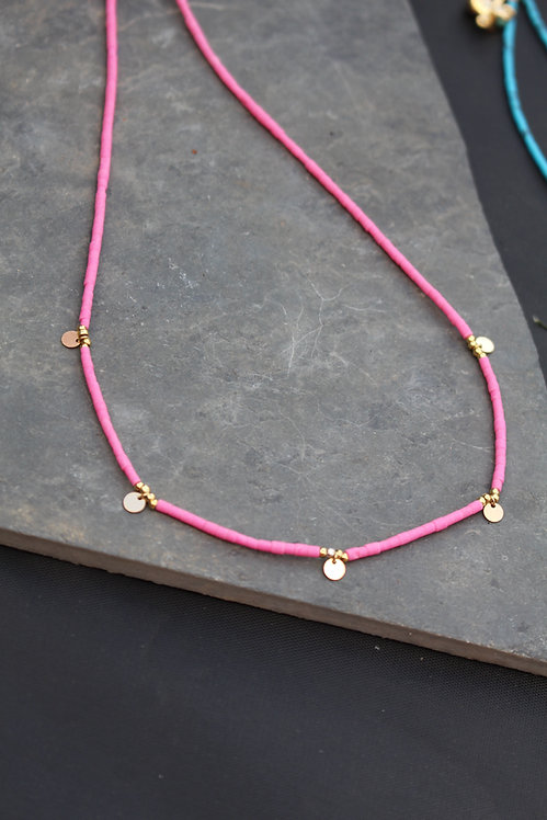 Pink Sequin Bead Necklace