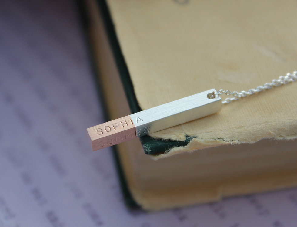 Personalised Rose Gold Dipped Silver Bar Necklace