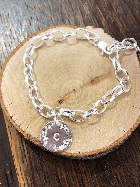Silver Personalised Wreath Chain Bracelet