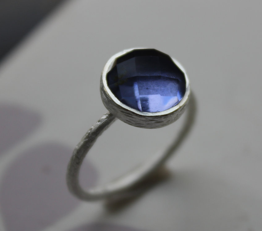 Silver Matt Finish Iolite Ring