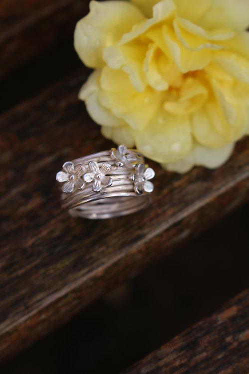Wrap Flower Silver Ring