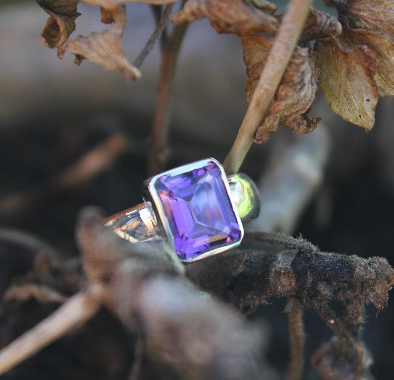 Silver Octagonal Amyethyst Ring