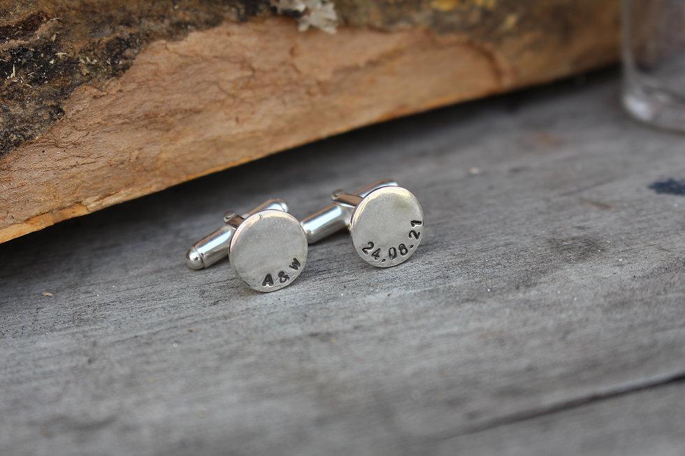 Silver Round Name Cufflinks