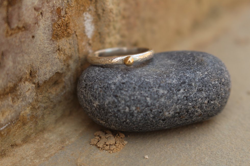Silver & Gold Stackable 1 Bobble Ring