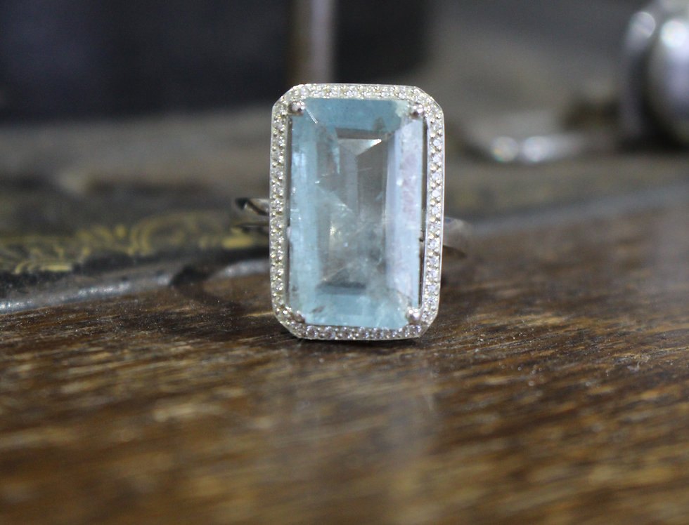 Silver Halo Aquamarine Ring
