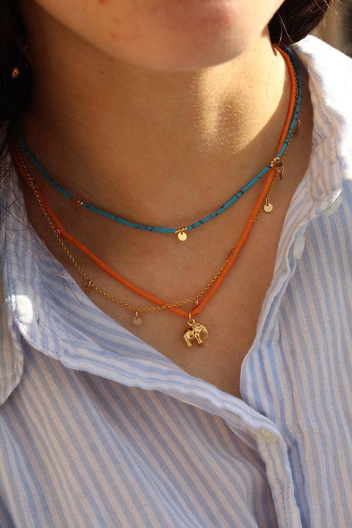 Orange Beach Bead Necklace