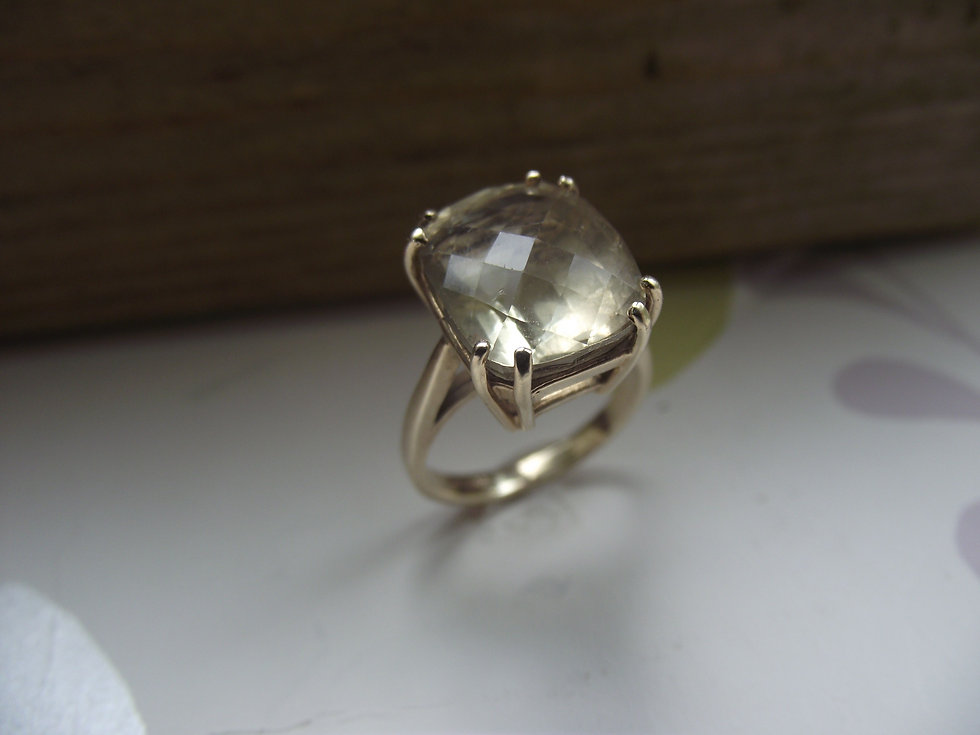 Citrine Ring Silver Band