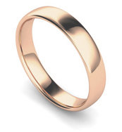 18ct Rose Gold 4mm Traditional Court Wedding Band