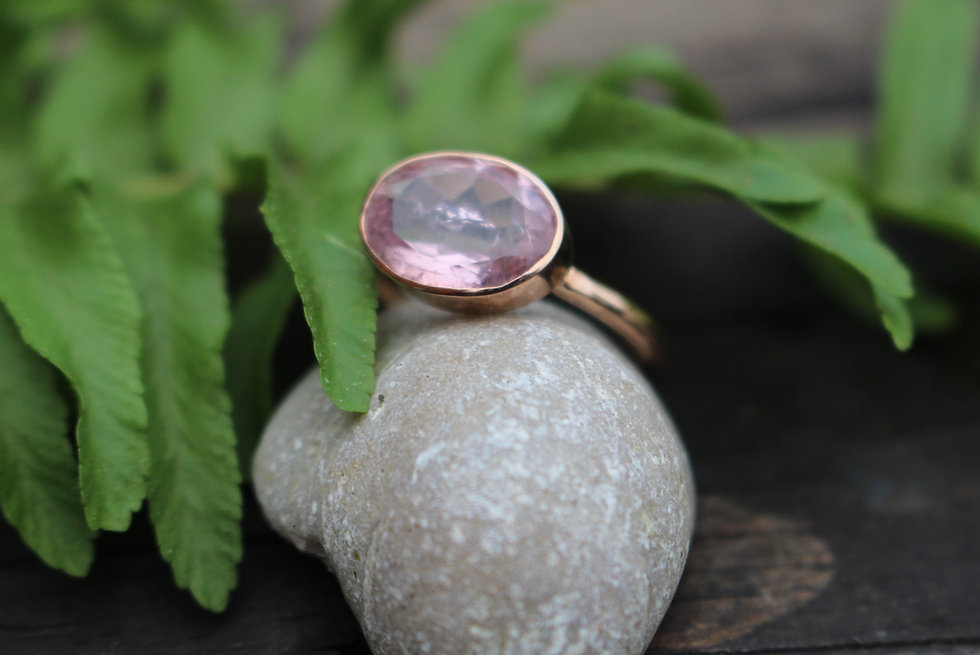 Solid Rose Gold Morganite Ring