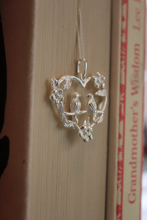 Silver Two Birds Love Bird Pendant