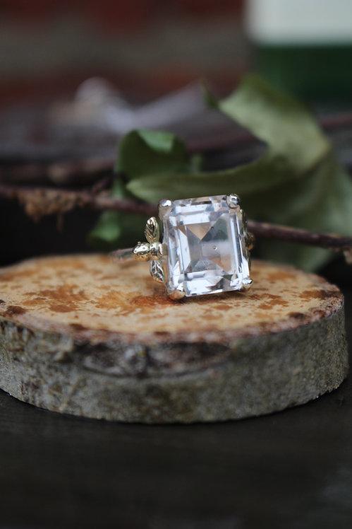 Silver & Gold Smokey Quartz Bee Ring