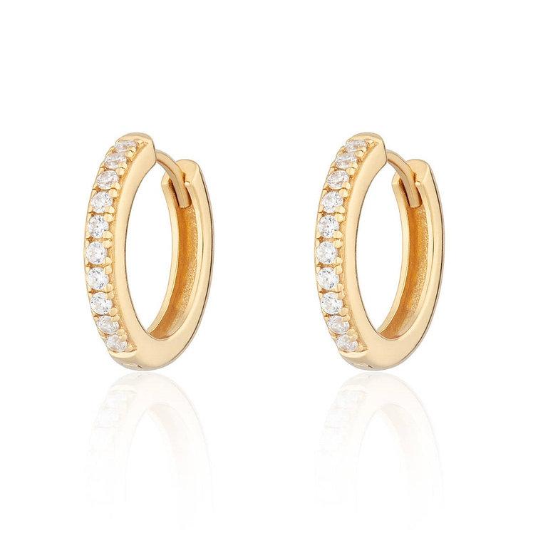 Stone Set Gold Mini Hoop Earrings