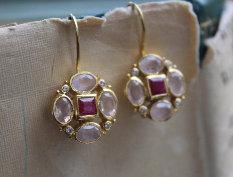 Yellow Gold Vermeil Rose Quartz and Ruby Drops