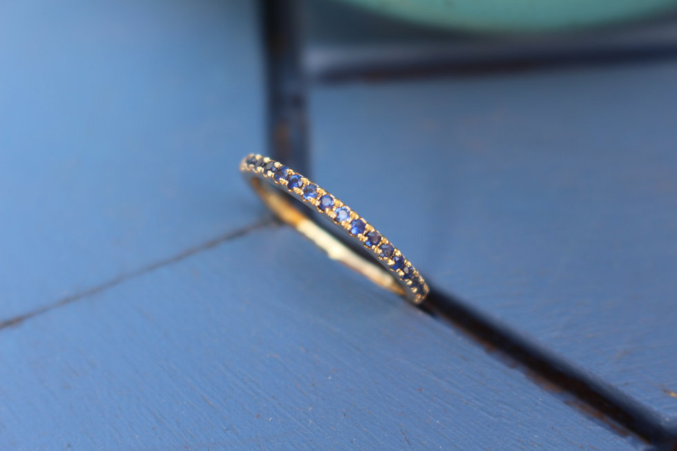 Gold Tiny Sapphire Stackable Spacer  Ring