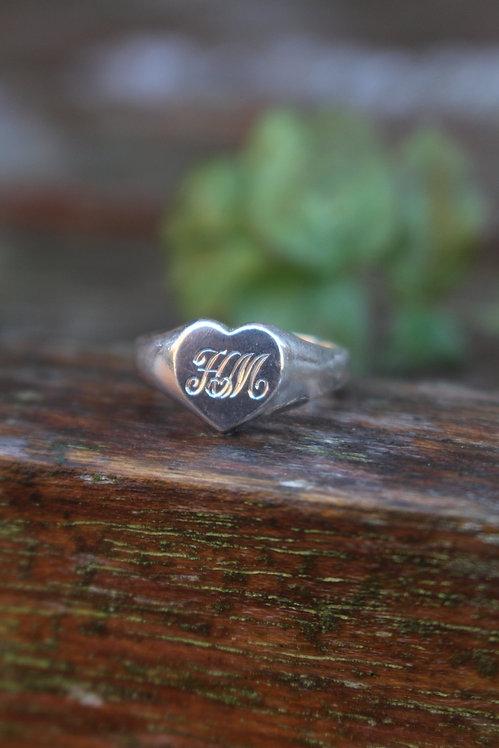 Heart Monogram Signet Ring