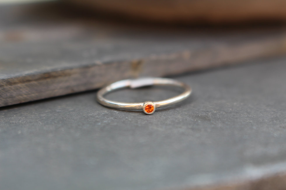 Silver Tiny Orange Stone Ring