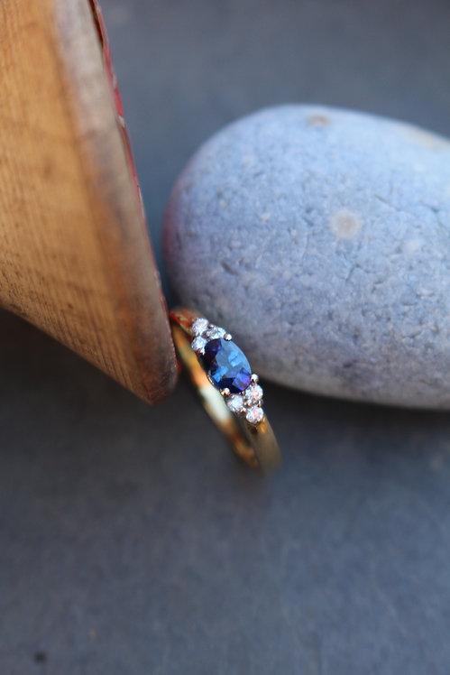Sapphire & Diamond Trefoil Ring