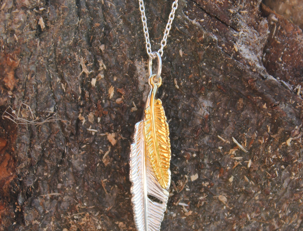 Silver & Gold Double Feather Pendant