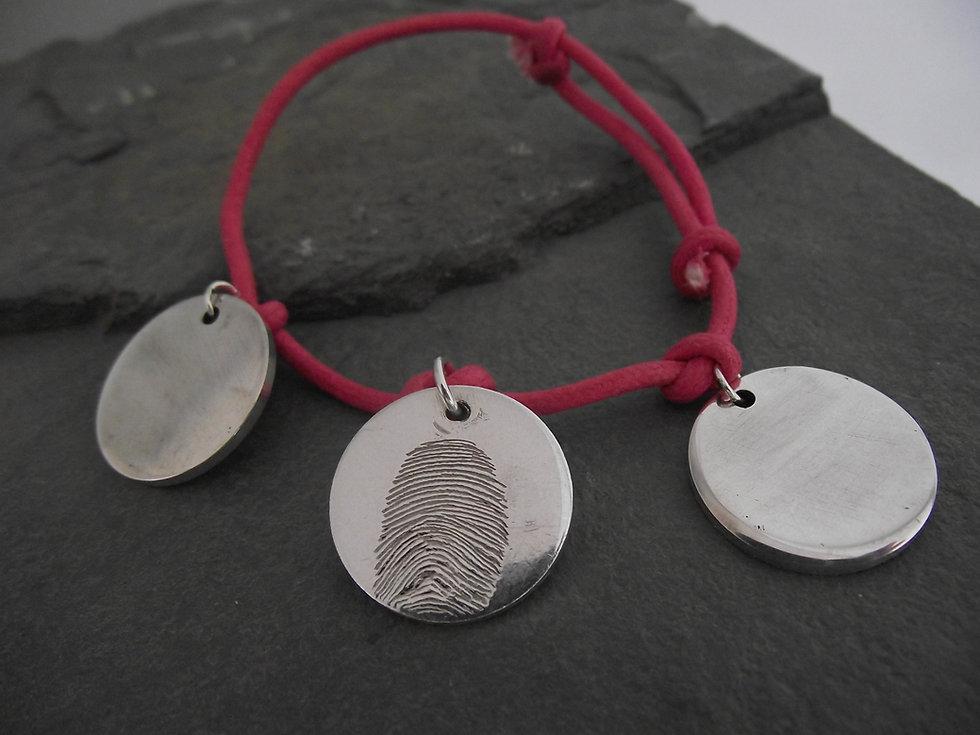 Real Fingerprint 3Disc Charm Bracelet