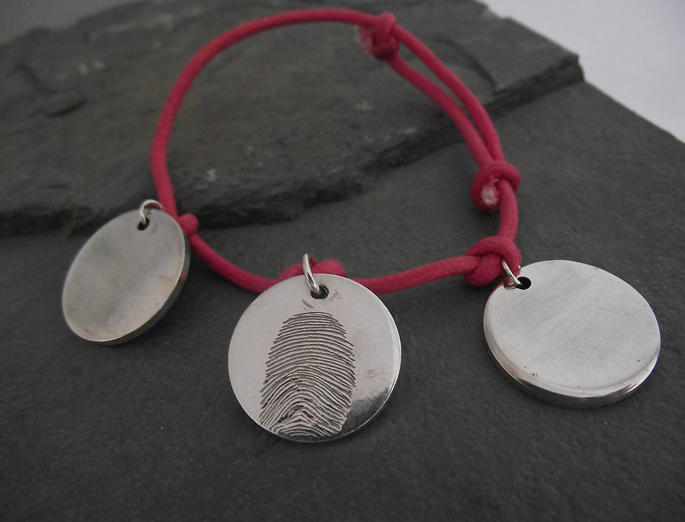 Real Fingerprint 3Disc Charm Bracelet