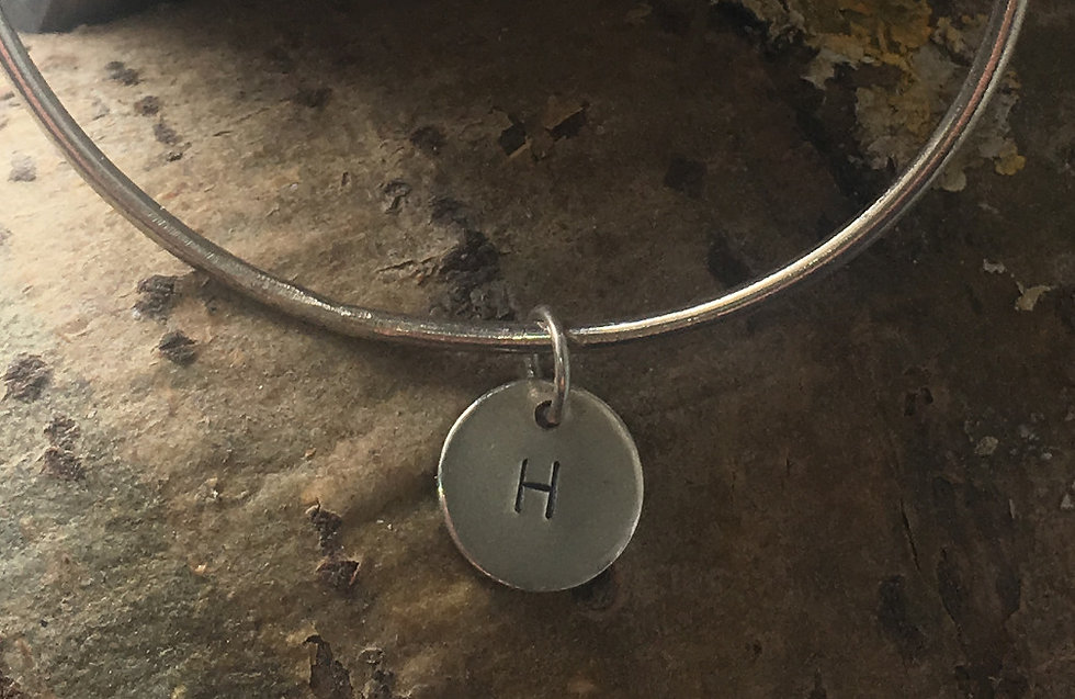 Silver Personalised Letter Bangle