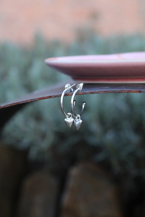 Silver Heart Small Hoop Earrings