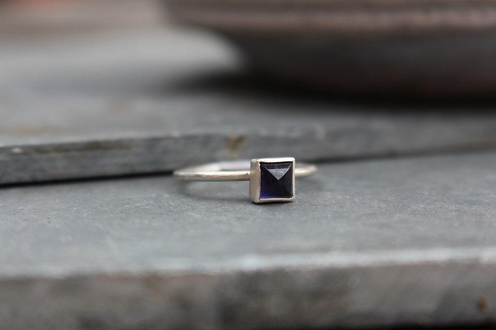 Silver Square Iolite Ring