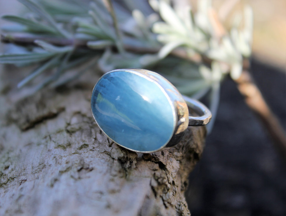 Silver Blue Lace Agate Oval Ring