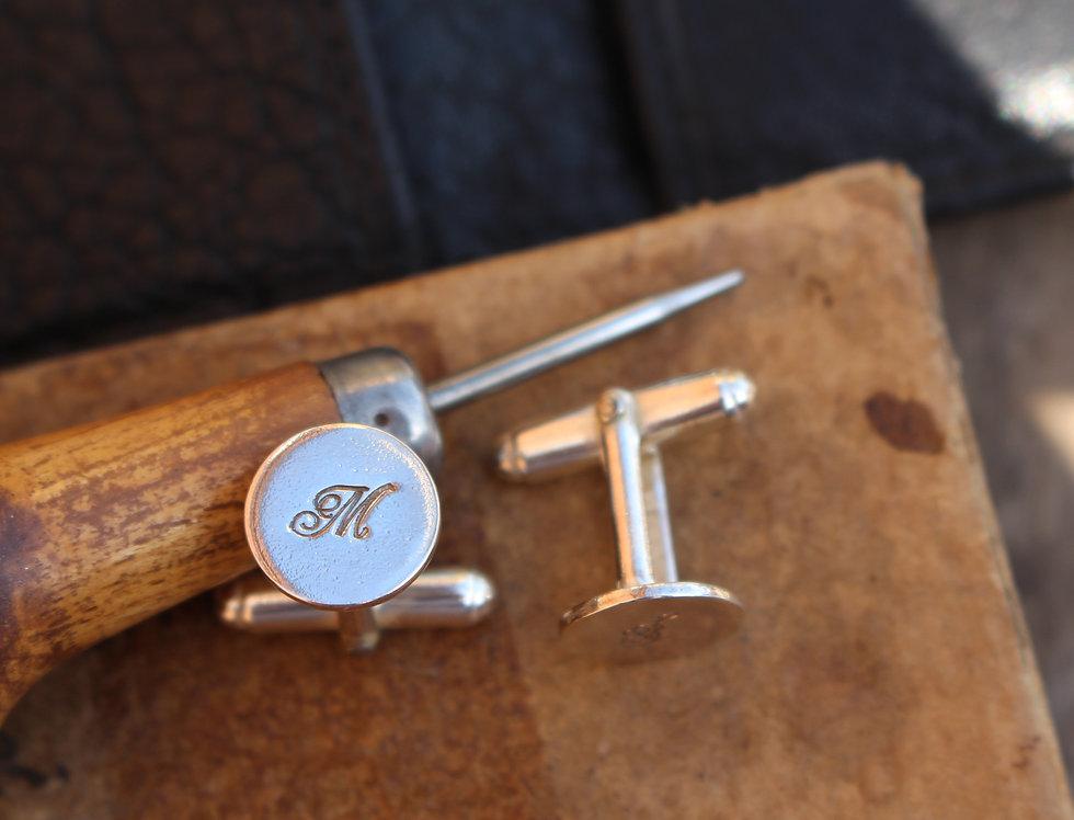 Silver Script Letter Cufflinks