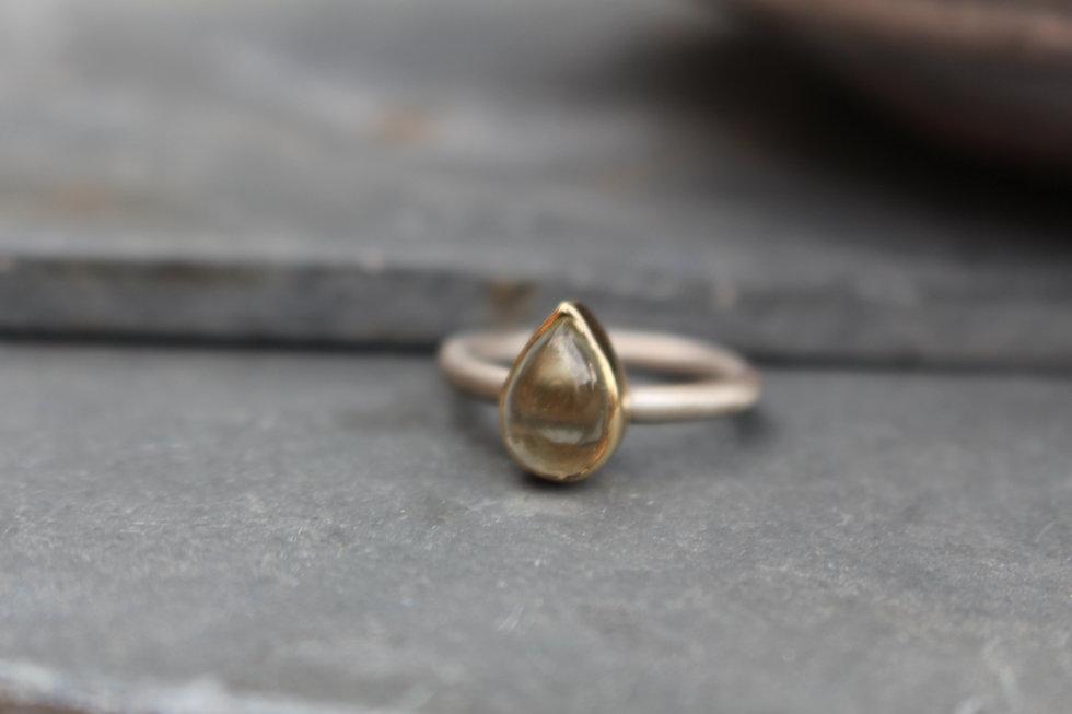 Silver & Gold Lemon Quartz Ring